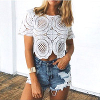 Lace Crochet High Neck T-Shirt Vest Tank