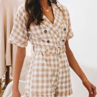 Spring and summer holiday style short jumpsuit plaid new shorts casual female Slim