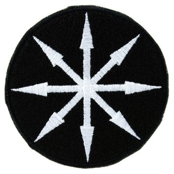 White Chaos Star Symbol of Eight Arrows  Patch Iron on Applique Alternative Clothing