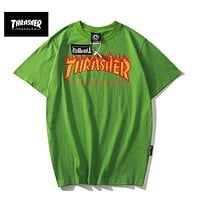 Thrasher Green Flame logo T-Shirt