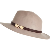 River Island Womens Pink metal trim fedora hat