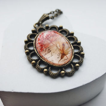 Vintage Pressed Flower Necklace Poetry Red Queen Anne's Lace Eco Resin Jewelry Victorian Style