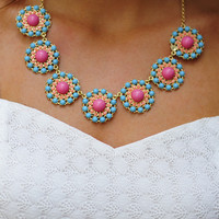 Dollop Of Daisy Necklace: Blue/Pink