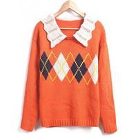 Fluted Lapel Collar Rhomb Design Long Sleeves Cotton Knitted Free Size Loose Orange Sweater @MFF35or