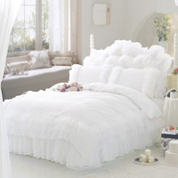 White ruffle lace princess bedding comforter set full queen size duvet cover quilt bed linen bedspread bedclothes korean cotton