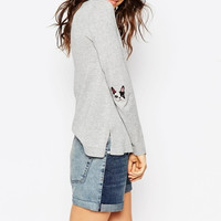 Dog Embroidered Elbow Sweater