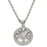 Rhodium Layered 04.156.0086.18 Fancy Necklace, Tree Design, with White Cubic Zirconia, Polished Finish, Rhodium Tone