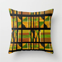 "Green,Black,Yellow,Red,Print,Throw Pillow Indoor & Outdoor Cover (16"" X 16"", 18"" X 18"", 20"" X 20""),Home Decor,Tribal,African,Pattern,Quilted"
