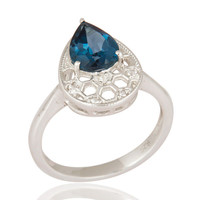 925 Sterling Silver Blue Topaz Gemstone Solitaire Engagement Ring Jewelry Size 8