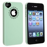eForCity Snap-on Case Compatible with Apple Iphone 4/ 4S, Mint Green Sweet Heart
