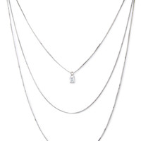 FOREVER 21 Layered Chain Necklace Silver/Clear One