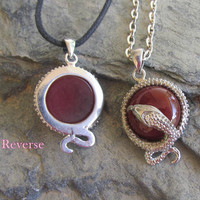 Carnelian Snake Pendant Necklace, Snake Bezel, Choose Necklace Style, Carnelian Cabochon, Year Of The Snake Gift,