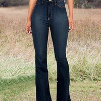 New Dark Blue Pockets High Waisted Mom Flare Vintage Bell Bottom Long Flare Jeans