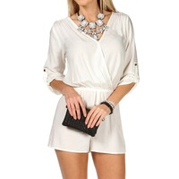 Sale-white Rolled Up Sleeves Romper