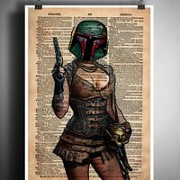 Boba Fett sexy pinup, Dictionary art print, star wars sexy steampunk girl, book page art
