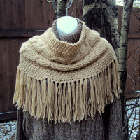 CHUNKY KNIT COWL Cabled Big Cowl Capelet Cabled Beige Neckwarmer Poncho  Women Clothing Winter Accessories Gift Ideas Made To Order