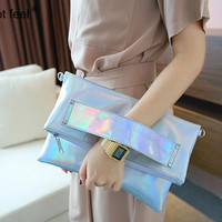 Hot Feel female bolso famous brand laser silver holographic handbag Handtasche women messenger bag fashion crossbody bag