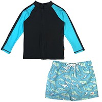 "Baby Boy Long Sleeve Rash Guard Swimsuit and Board Shorts Set - ""Deep Blue Sharks"""