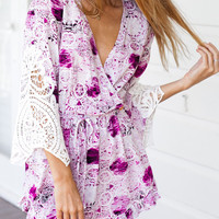 Purple Lace Sleeve Mini Dress