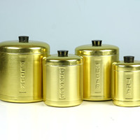 RARE Gold Canister Set, Kitchen Canisters, Aluminum Canisters, Flour and Sugar, Coffee and Tea, Steelmasters Made In Italy, Cannisters