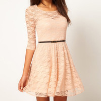 Casual Lace Skater Dress