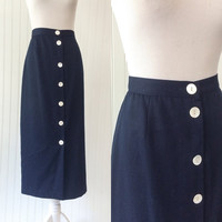 vintage 1970s does 50s high waist navy blue mother of pearl button front maxi skirt // wiggle pinup style // size L