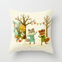 Critters: Spring Dancing Throw Pillow by Teagan White