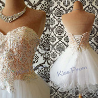 High Quality A-line Sweetheart Above the knee Organza Lace Sequins Short Prom dresses Bridesmaid Dresses Evening Dresses 2014 New Arrival