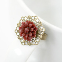 CLEARANCE - Adjustable Gold and Burgundy Zinnia Flower Ring