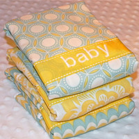 Personalized Burp Cloth Set - Green and Yellow Gender Neutral