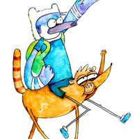 Regular Show / Adventure Time Fan Art, 8.5x11 inch inkjet print Mordecai and Rigby Painting