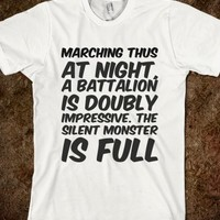 MARCHING THUS AT NIGHT, A BATTALION IS DOUBLY IMPRESSIVE. THE SILENT MONSTER IS FULL