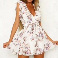 Fashion New Floral Print V-Neck Vest Dress Women White