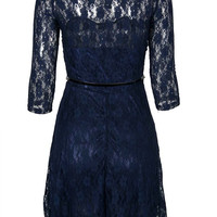 Blue Sheer Panel Sweetheart Skater Lace Dress With Belt