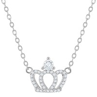 """925 Sterling Silver Clear CZ Princess Queen Crown Necklace Girls Kids 16"""""""