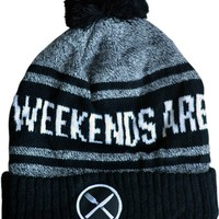 """""""Weekends are For Waffles"""" Knit Pom Beanie by Pyknic (Black/Grey)"""