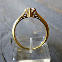 14K Solid Gold Engagement Ring, Gold Ring w Clear zirconia, Wedding Gold Ring.