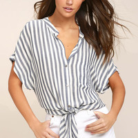 Newport Beach Grey and White Striped Top