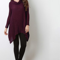 Sharkbite Cowl Neckline Knit Top
