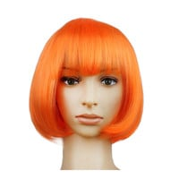 Women's Sexy Short Bob Cut Fancy Dress Wigs Play Costume Ladies Full Wig Party  Orange