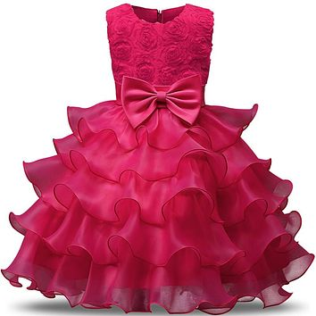 born Baby Girl Wedding Dress Tulle Toddler Girls 1st 2nd Birthday Christmas Gift Baby Party Dress Wear Infant Baptism Clothes