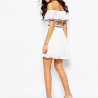 The Jetset Diaries Pompeii Off Shoulder Dress in Ivory at asos.com
