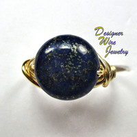 DWJ0210 Natural Blue and Gold Lapis Lazuli Solitaire Wire Wrap Ring All Sizes