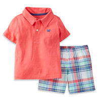 Carter's® 2-Piece Jersey Polo Top and Short Set in Coral/Plaid