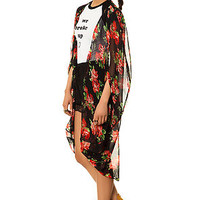 The Red Roses Red Roses Kimono in Black Floral