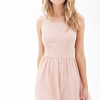 FOREVER 21 Textured Chevron Dress Dusty Pink