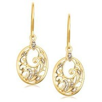Amazon.com: Yellow Gold Plated Sterling Silver Diamond Accent Floral Dangle Earrings: Jewelry