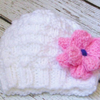 Hand Knit Newborn White Baby Hat with Pink Flower - 0 to 3 Months Infant Baby Girl - Baby Flower Hat Beanie Accessories Knit Baby Cap - Gift