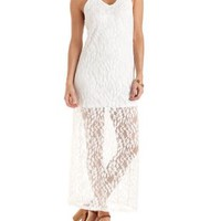 Ivory Lace Halter Maxi Dress by Charlotte Russe