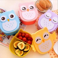 New 3 Style cute owl japanese bento boxes  sushi cartoon ruled lunchbox kids  microwave plastic food containers